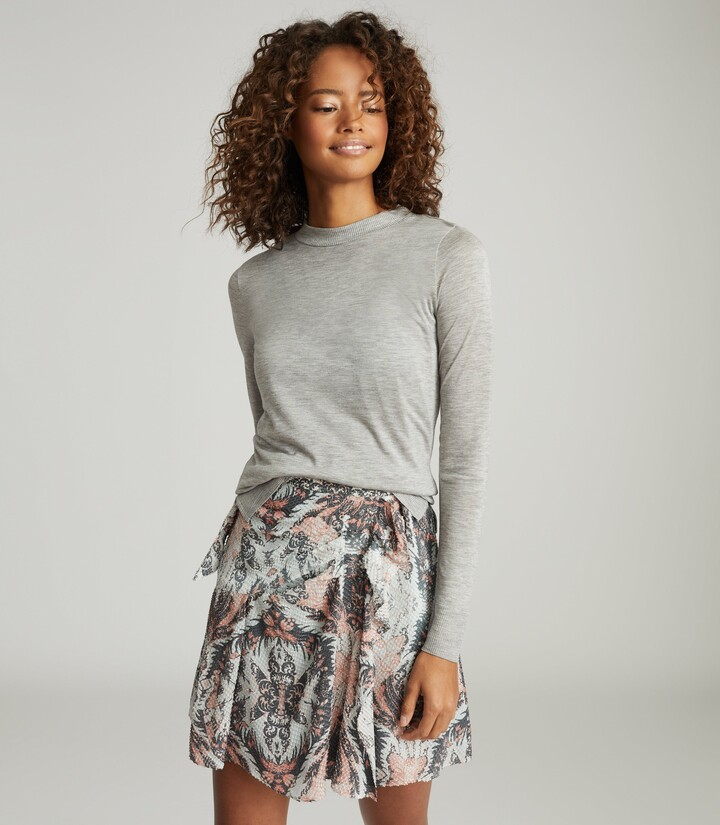 Thumbnail for your product : Reiss Ariella - Paisley Printed Skirt in Grey