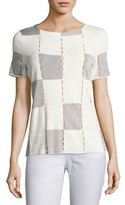 Lafayette 148 New York Short-Sleeve Matte Crepe Checkerboard Sweater