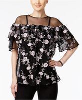 Alfani PRIMA Embroidered Off-The-Shoulder Illusion Top, Only at Macy's