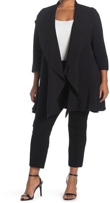 Anne Klein Crepe Cascade Open Front Cardigan (Plus Size)