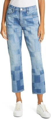 Frame Le High Straight Laser Patchwork Ankle Straight Leg Jeans