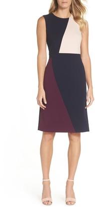Vince Camuto Scuba Colorblock Sheath Dress (Regular & Petite)