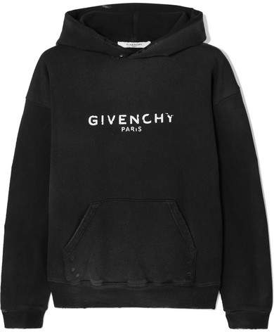 Givenchy Distressed Printed Cotton-jersey Hooded Top - Black