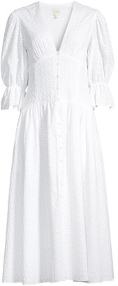 Rebecca Taylor Leaf Embroidered Button-Front Dress