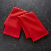Crate & Barrel Waffle-Terry Red Dish Towels, Set of 2