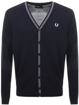Fred Perry V Neck Merino Wool Cardigan Navy