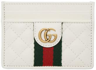 Gucci White GG Web Card Holder