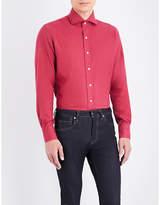 Emmett London Midnight Blue Slim-fit Brushed Cotton Shirt
