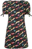 Olympia Le-Tan smoking lips print mini dress - women - Linen/Flax - 36