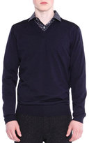 Lanvin V-Neck Sweater with Mesh Shoulder, Navy