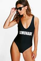 boohoo Petite Fiona 'Lemonade' Slogan Swimsuit black