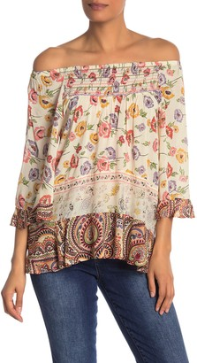 Democracy 3/4 Length Sleeve Border Print Flounce Top