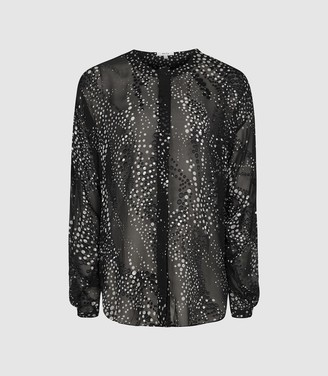 Reiss Lisa - Burnout Spot Printed Blouse in Monochrome