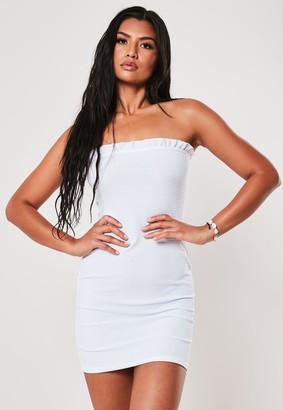 Missguided White Shirred Bandeau Bodycon Mini Dress