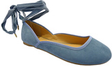 Wild Diva Blue Starla Ankle Lace Ballet Flat