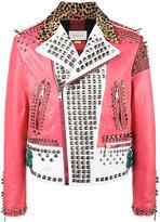 Gucci block panel studded jacket - men - Cotton/Calf Leather/Deer Skin/Brass - 48