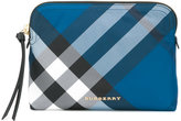 Burberry top-zip check pouch - women - Calf Leather/Polyester - One Size