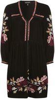 Velvet floral smock dress