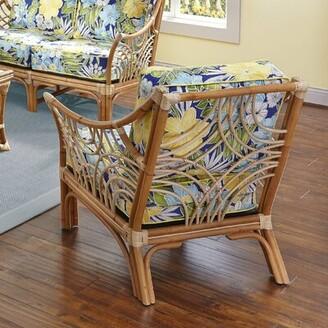 """Spice Islands Wicker Bali 24"""" Armchair Spice Islands Wicker Fabric: Clemens Sunblue Lemon Cord"""