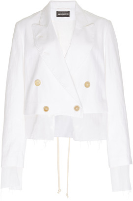 Ann Demeulemeester Distressed Cotton-Linen Cropped Blazer