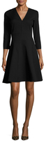 Josie Natori Cotton Structured Textured Flared Dress