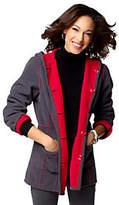 As Is Susan Graver Bonded Fleece Reversible Hooded Coat