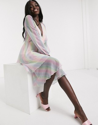 Outrageous Fortune plunge front tiered midi dress in pastel rainbow stripe