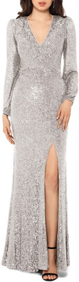 Xscape Evenings Long Sleeve Sequin Gown
