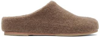 LAUREN MANOOGIAN Brown Alpaca Mono Mule Slippers