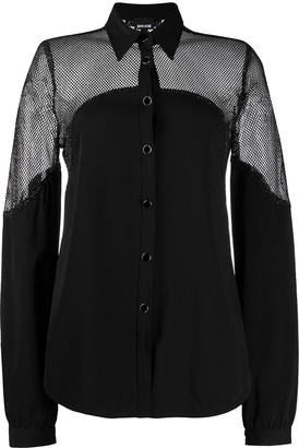 Just Cavalli Mesh Panel Long Sleeve Shirt