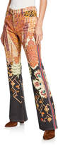 Etro Animal Patchwork Flare Jeans