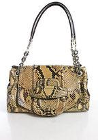 Oscar de la Renta Brown Python Silver Chain Strap Flap Shoulder Handbag