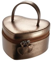 Boutique Bronze Metallic Heart Jewellery Box with Leopard Print Linging