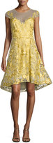 Marchesa Floral Lace Illusion Cocktail Dress, Bright Yellow