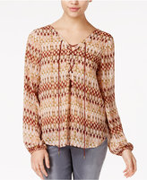 Jessica Simpson Morgan Sheer Lace-Up Blouse
