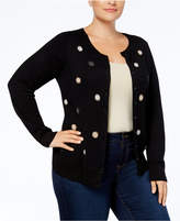 Charter Club Plus Size Polka-Dot Cardigan, Created for Macy's