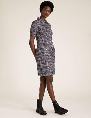 Marks and Spencer Textured Tweed Button Front Dress