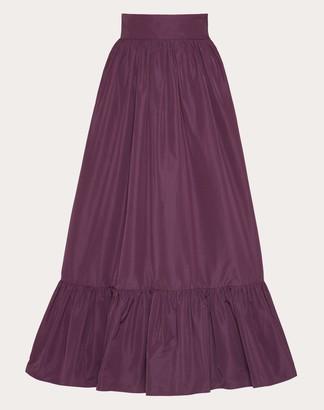 Valentino Micro-faille Full Skirt Women Real Purple Cotton 54%, Polyester 46% 38
