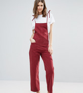 ASOS Tall ASOS TALL Denim Jumpsuit in Raspberry With Tie Straps