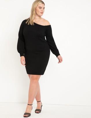 ELOQUII Slinky Off The Shoulder Sweater Dress