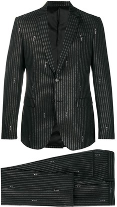 Versace Pinstripe Signature Embroidered Suit