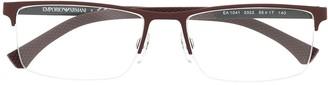 Emporio Armani Matte-Effect Square-Frame Glasses