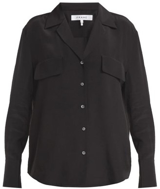 Frame Chest Pocket Silk Shirt - Black