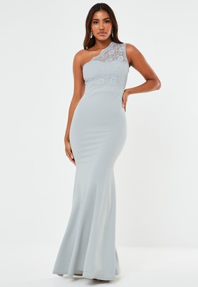 Missguided Grey Lace One Shoulder Fishtail Maxi Bridesmaid Dress