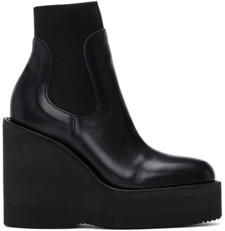 Sacai Black Wedge Ankle Boots