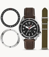 Fossil Defender Archival Series Three-Hand Date Brown Leather Watch jewelry