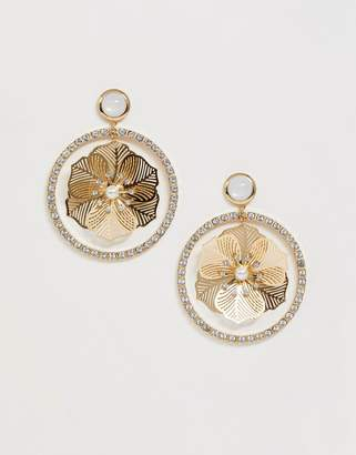 Asos Design DESIGN earrings with crystal open circle drop and filigree pearl flower in gold tone