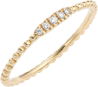 Bony Levy Diamond & 18K Gold Bead Stacking Ring