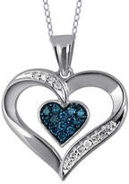 Fine Jewelry 1/5 CT. T.W. White and Color-Enhanced Blue Diamond Sterling Silver Heart Pendant