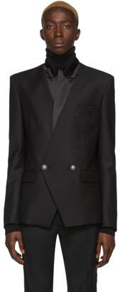 Balmain Black Wool Satin Collar Blazer